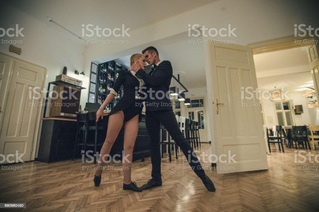 Dance couple on dance floor royalty-free stock photo