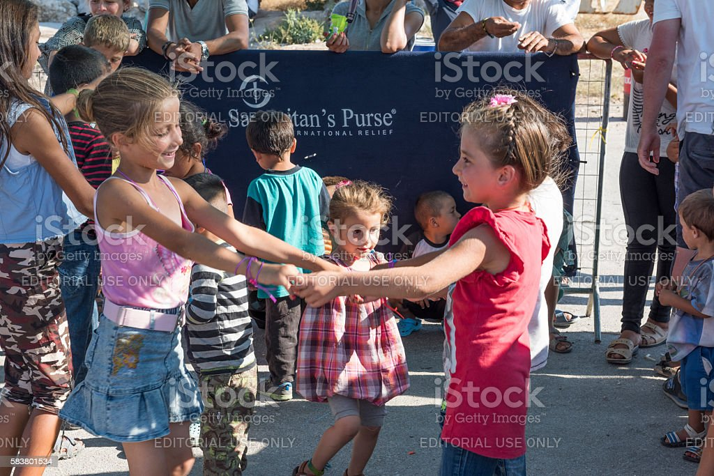 Dance event for refugee children in Greece stock photo