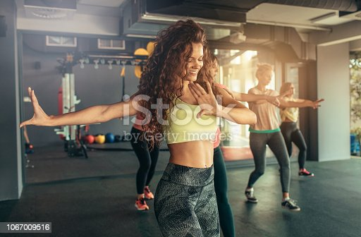 Group of women enjoying dance fitness.
