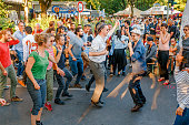 Berlin, Germany, 20 May 2018: dance flash mob at the Festival of Cultures in Berlin. People dancing lindy hop outdoors at city street