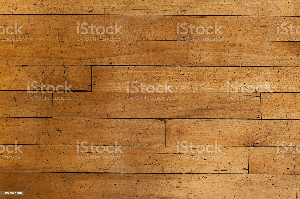 Detail of an old, scratched, wooden floor in a large auditorium.