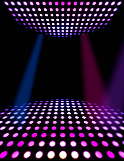 dance floor disco poster background - disco dancing stock photos and pictures