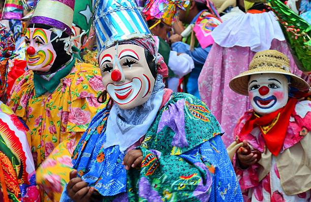 Dance in honor of Mary Magdalene Xico, Veracruz, Mexico. July 20, 2015. Dancers during the celebration of Santa Maria Mangdalena the day of placing the floral arch in the church. veracruz stock pictures, royalty-free photos & images