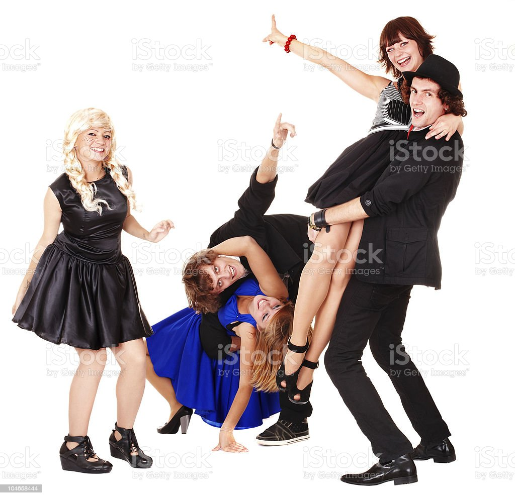 Dance of group happy people. royalty-free stock photo