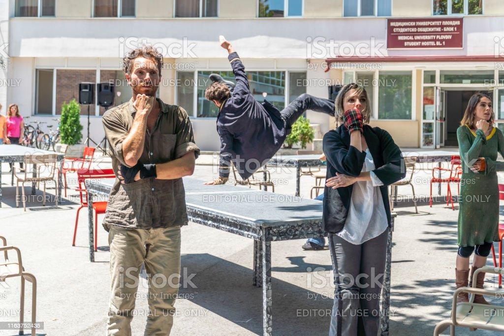 Plovdiv, Bulgaria - June 16, 2019 - Artists performing a dance show...