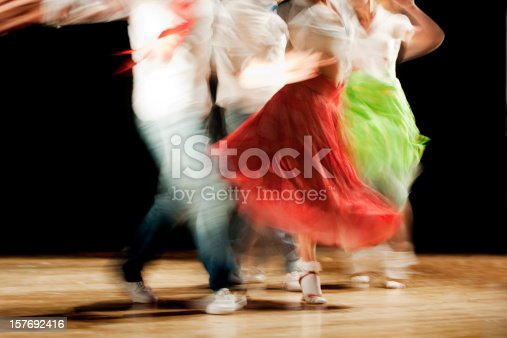 Blurred motion picture of dancers at a concert