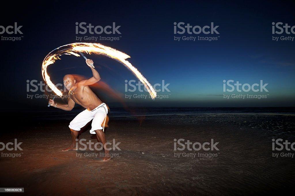 Dance With Fire, Jericoacoara, Brazil royalty-free stock photo
