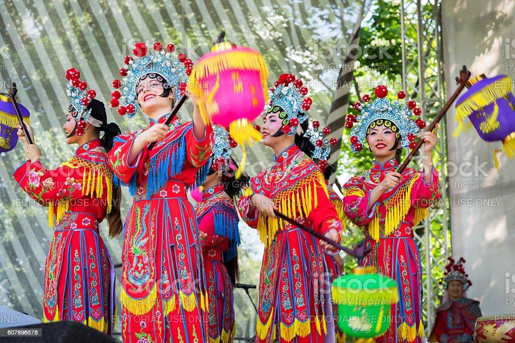 Dance with lanterns. stock photo