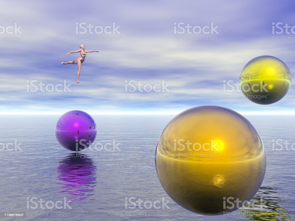 Dancer and colorful spheres hovers above endless ocean