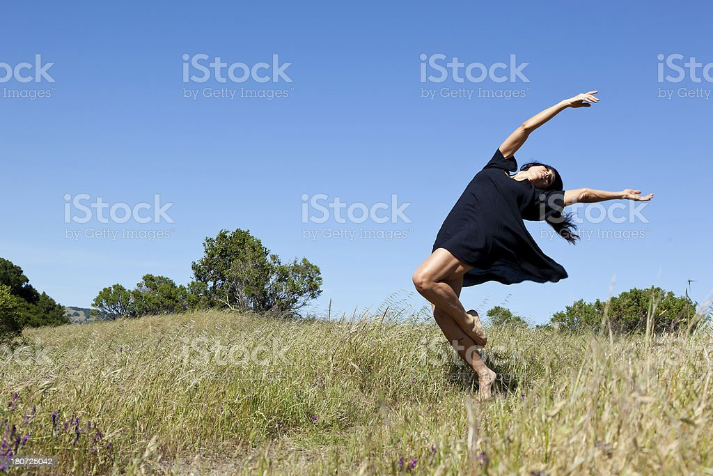 dancer dancing in the meadow royalty-free stock photo