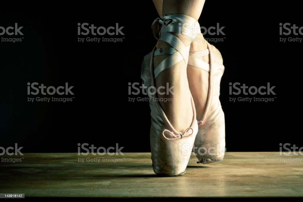 Dancer en pointe, close up on stage royalty-free stock photo