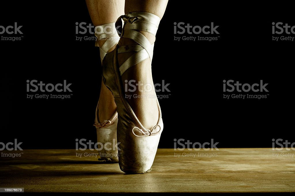 Dancer en pointe, close up on stage stock photo