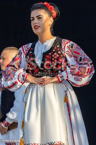 Timisoara: Dancer girl from Romania in traditional costume present at the international folk festival, International Festival of hearts, organized by the City Hall.