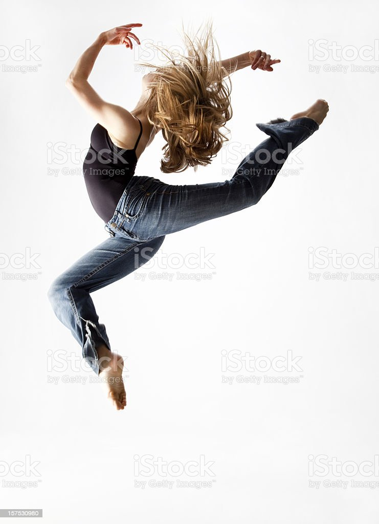 dancer jumping in the air stock photo