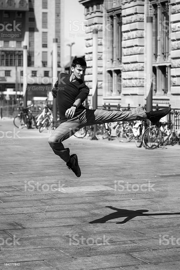 dancer jumping in the sun royalty-free stock photo