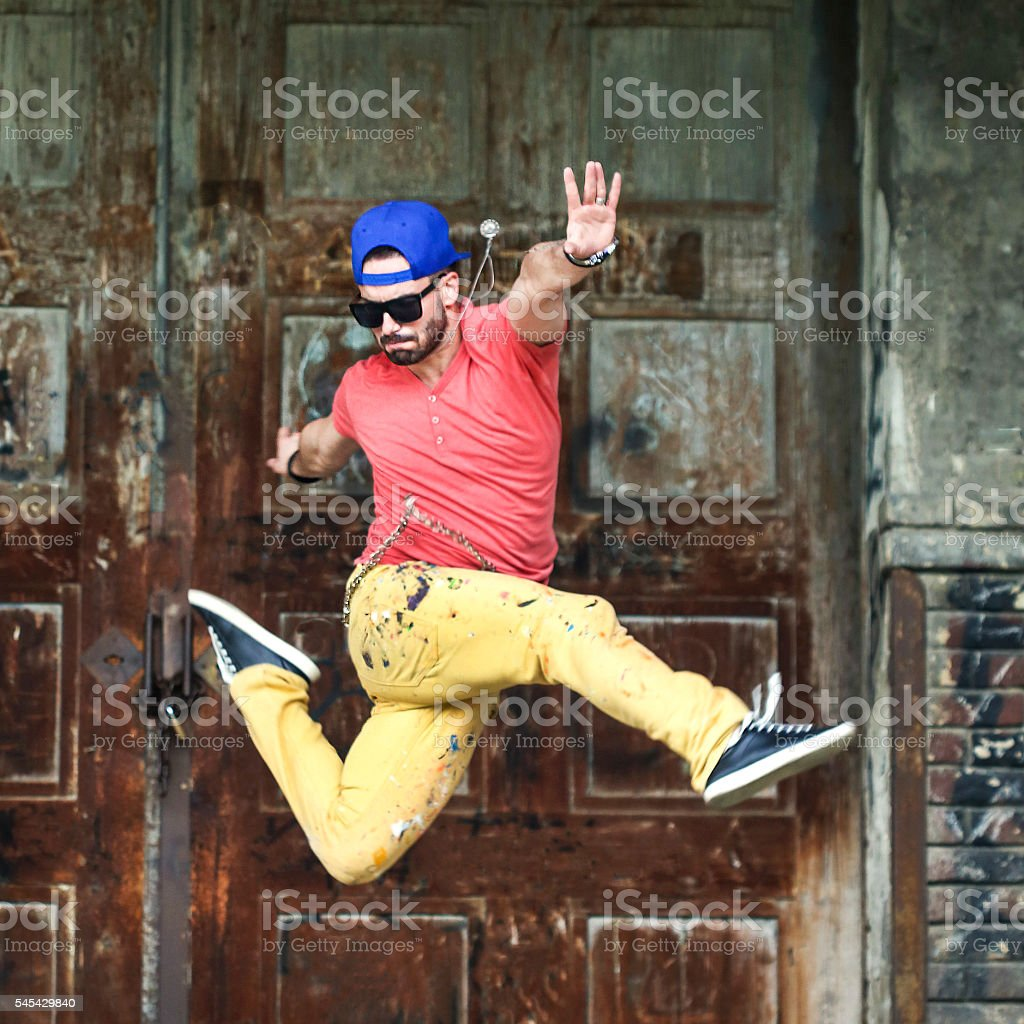 Dancer jumping stock photo