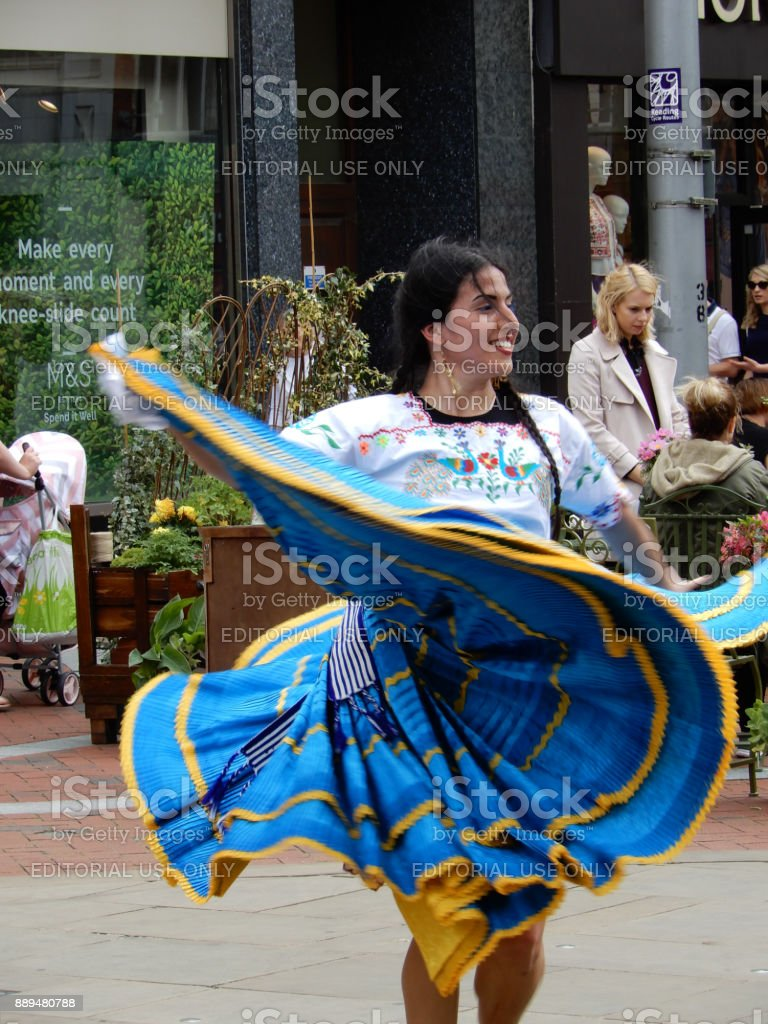 A dancer performing a traditional ANdean Dance in Broad Street, Reading stock photo