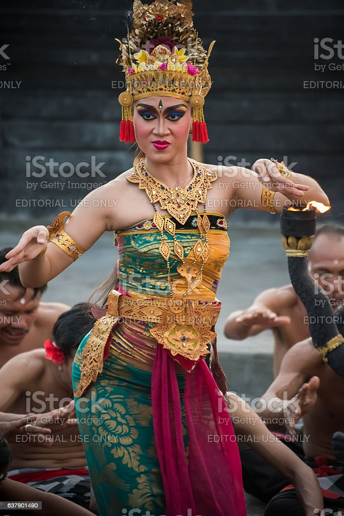 Dancer performing Kecak dance in Uluwatu stock photo