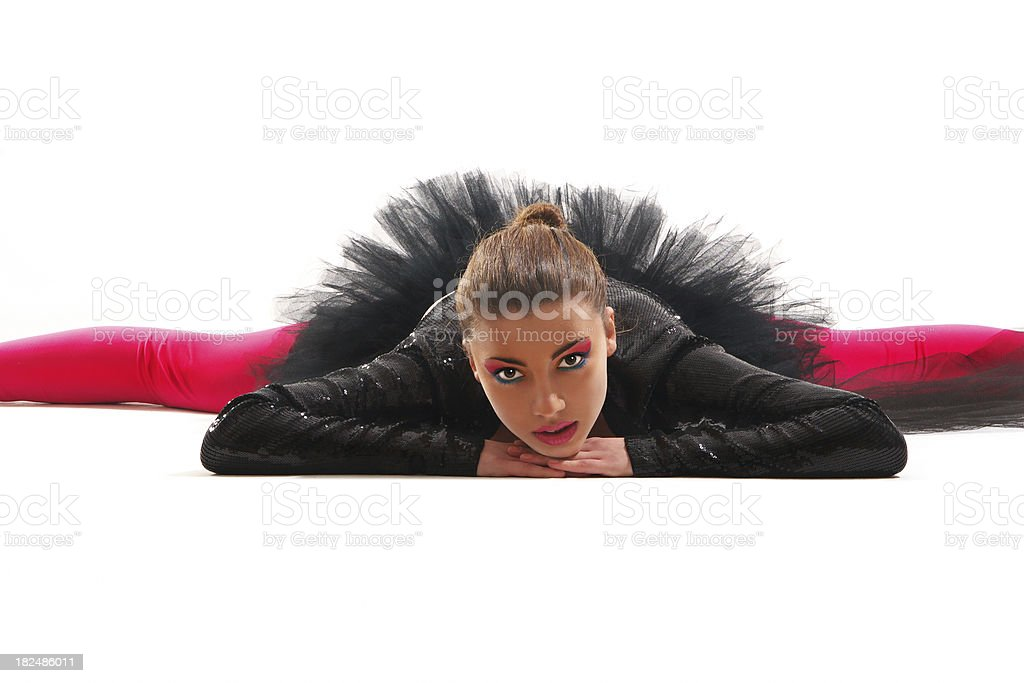 Dancer posing on the floor royalty-free stock photo