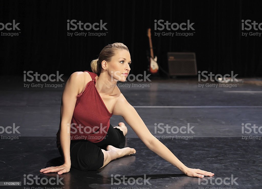 Dancer stretching royalty-free stock photo
