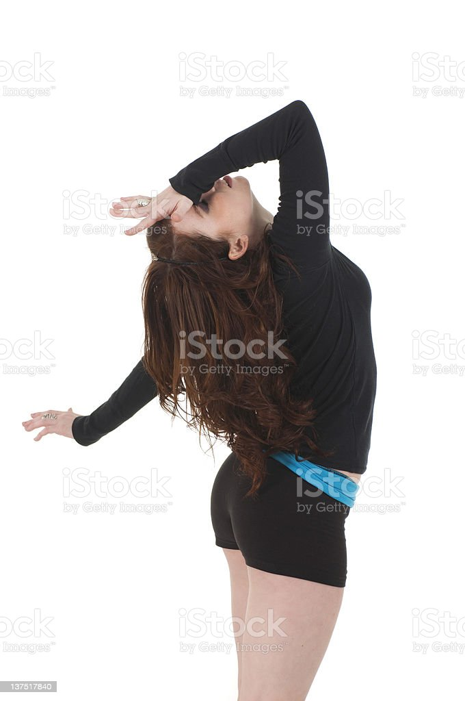 Dancer Tipping Back Head stock photo