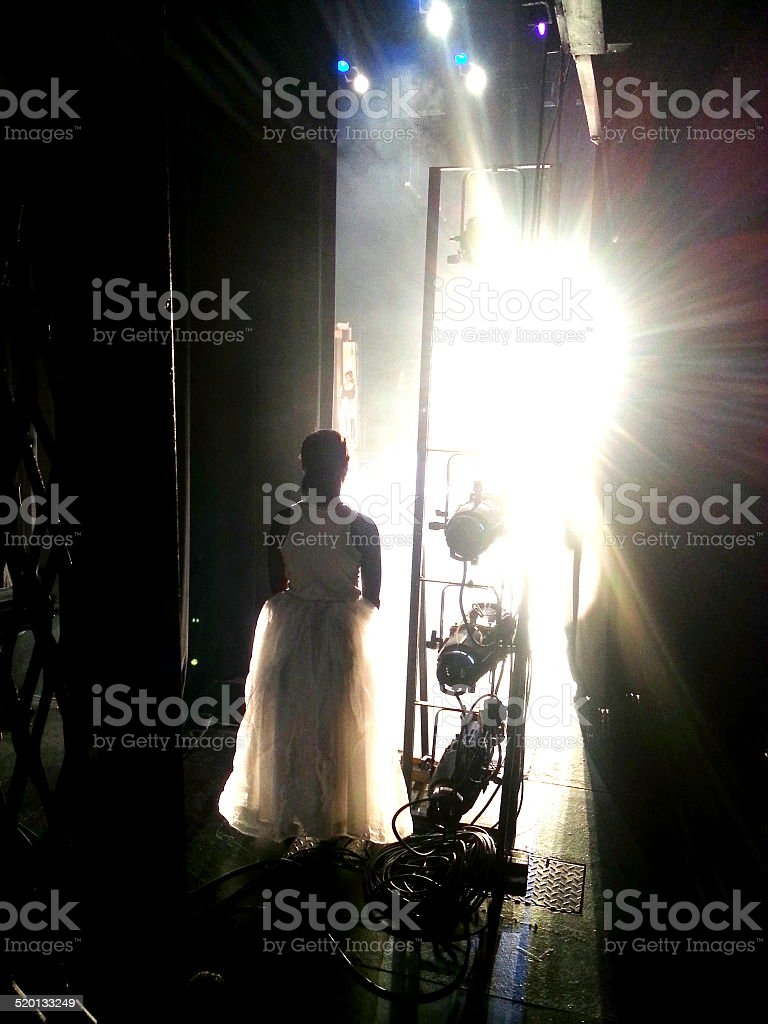 Dancer waiting in the wings stock photo