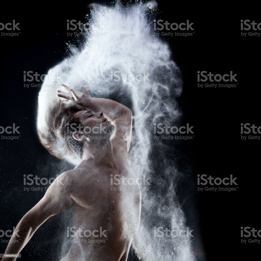 Dancer with flour stock photo