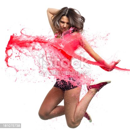 istock Dancer with pink paint splash isolated on white 181075738