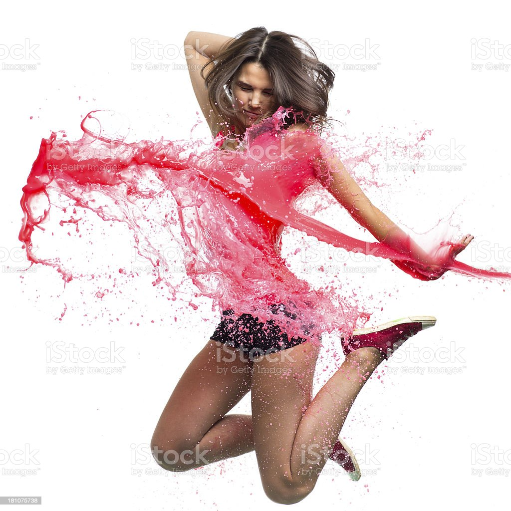 Dancer with pink paint splash isolated on white stock photo
