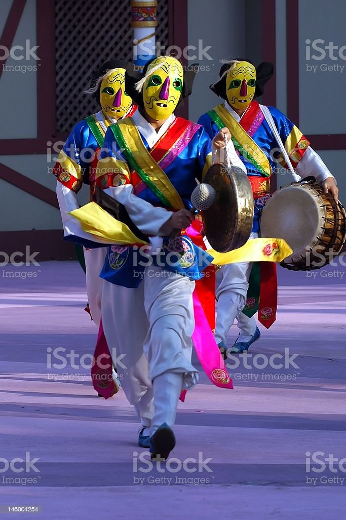 Dancer with yellow mask stock photo