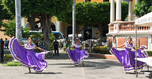 Dancers at Central park in Granada, Nicaragua. stock photo