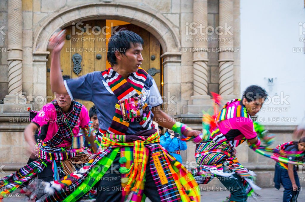 Dancers at Fiesta of the Virgin de Guadalupe in Sucre stock photo