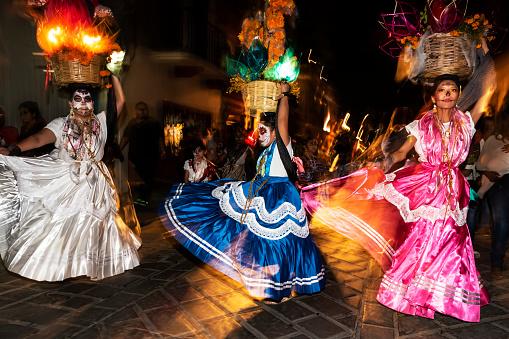Dancers at Night at the Día de los Muertos Festival in Oaxaca