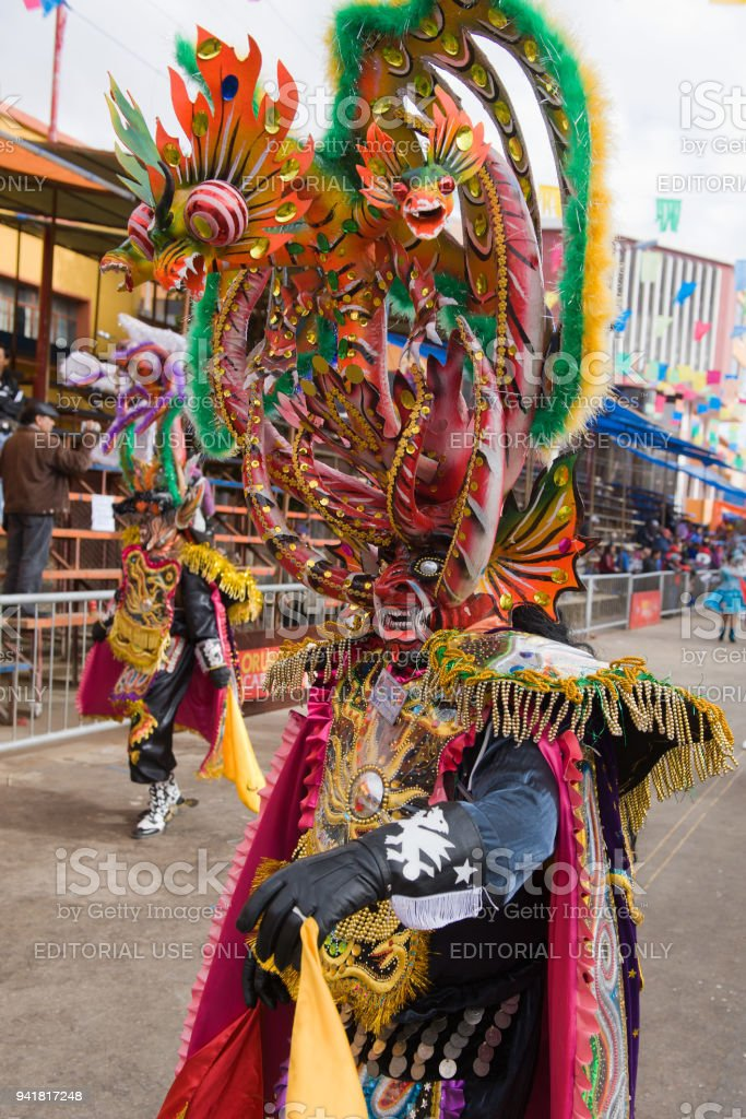 Dancers at Oruro Carnival in Bolivia stock photo