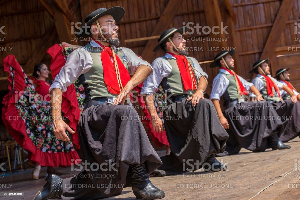 Dancers from Argentina in traditional costume stock photo