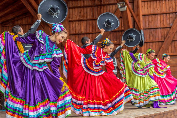 """Dancers from Mexico in traditional costume Timisoara: Group of dancers from Mexico in traditional costume present at the international folk festival """"International Festival of hearts"""" organized by the City Hall. mexico stock pictures, royalty-free photos & images"""