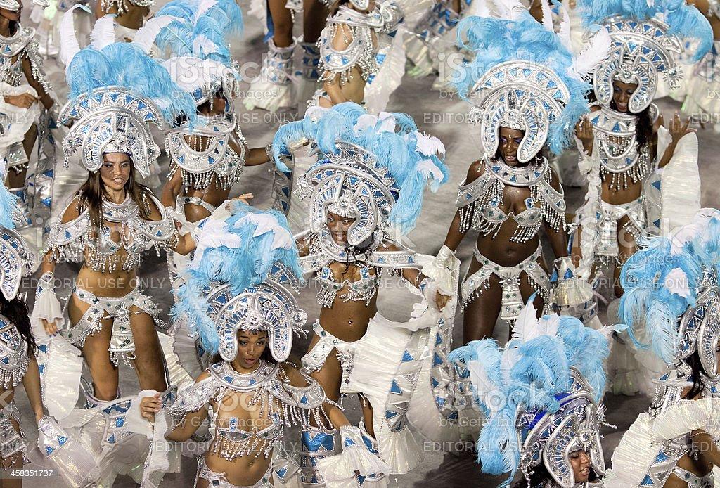 Dancers in costume at carnival. Rio de Janeiro 2013 stock photo