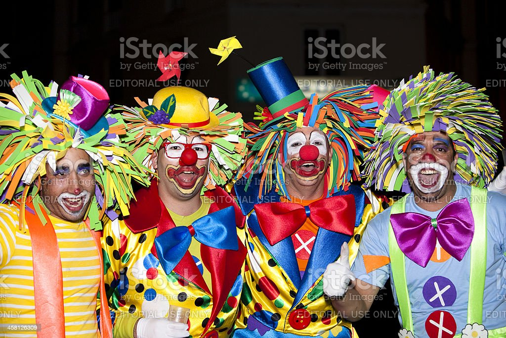 dancers in costumes at the Grand Carnival Parade Arrecife stock photo
