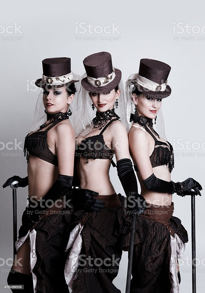 Dancers in original costumes stock photo