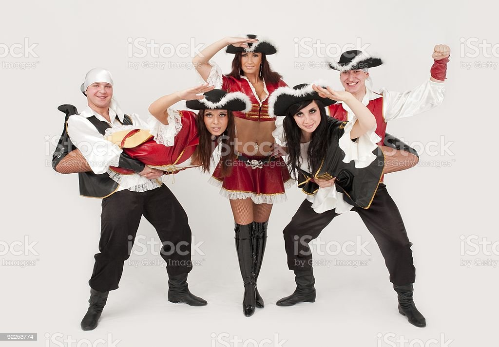dancers in pirate costumes royalty-free stock photo