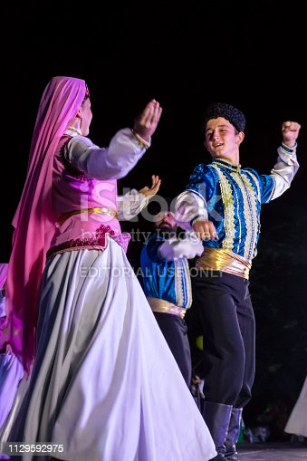 Genichesk, Ukraine - August 26, 2017: Dancers in turkish traditional clothing perform on stage during Festival of National Cultures Tavriyska rodyna (Tavria Family)