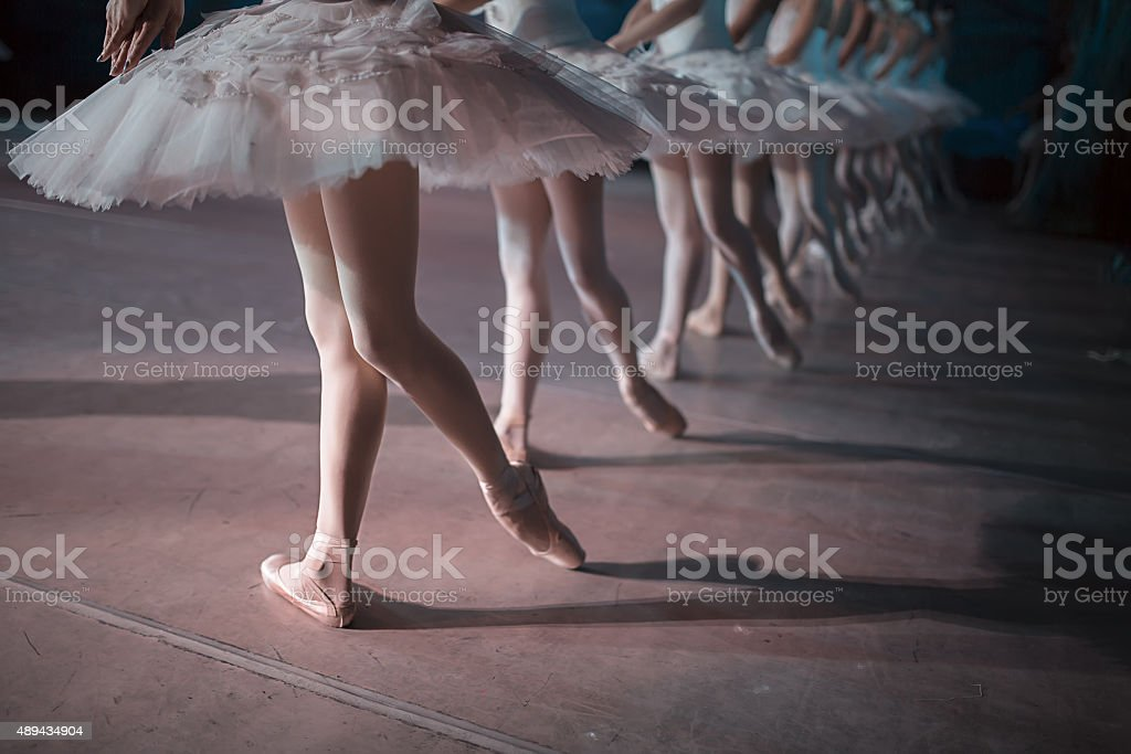 Dancers in white tutu synchronized dancing bildbanksfoto