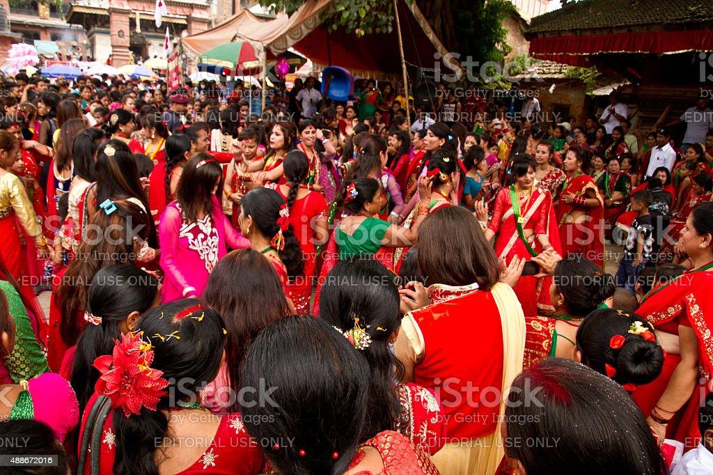 Dancers of Teej festival, Durbar Square, Kathmandu, Nepal stock photo
