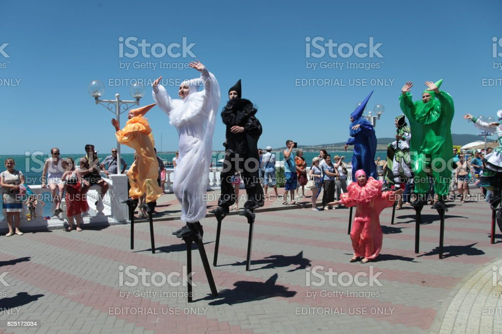 Gelendzhik, Russia - June 06, 2015: Dancers on Carnival in Gelendzhik. stock photo