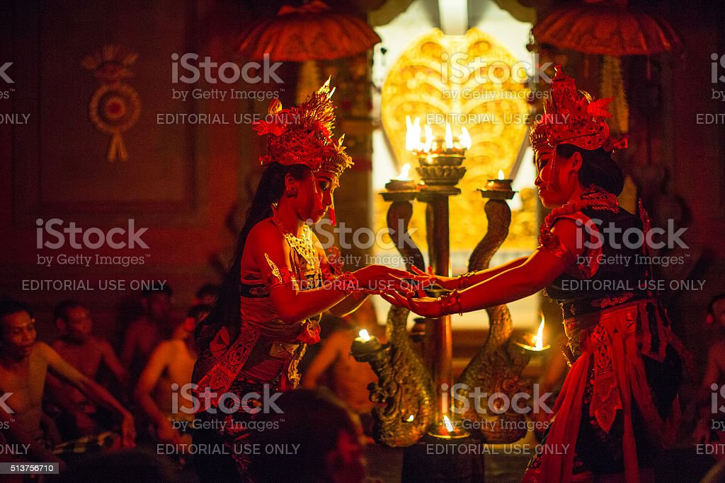 Dancers performing traditional balinese Kecak Trance Fire Dance stock photo