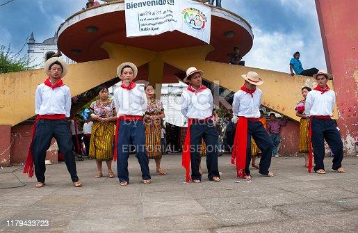 GUATEMALA - July 30, 2011- Dances and typical costumes of Guatemala, young actors, Latin American Guatemalan culture in Coban Alta Verapaz.