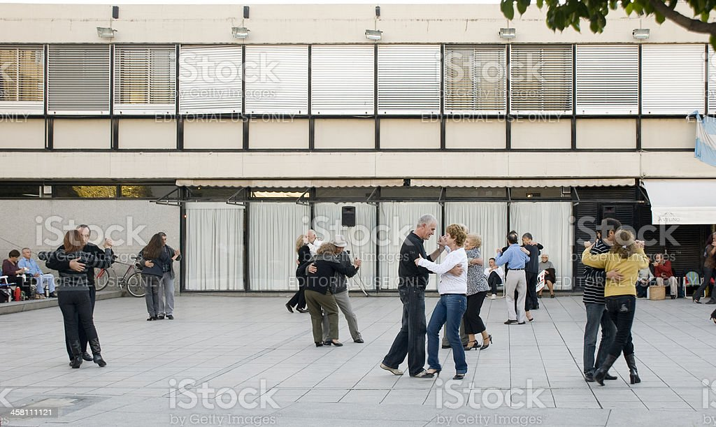 Dancing a Tango on the Street stock photo