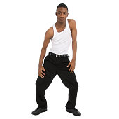 Attractive African American man showing some fabulous dance moves.  Isolated on a white background.