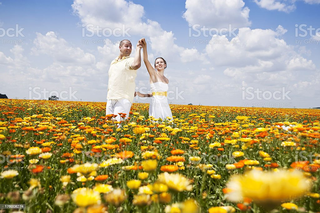 Dancing Among Flowers royalty-free stock photo