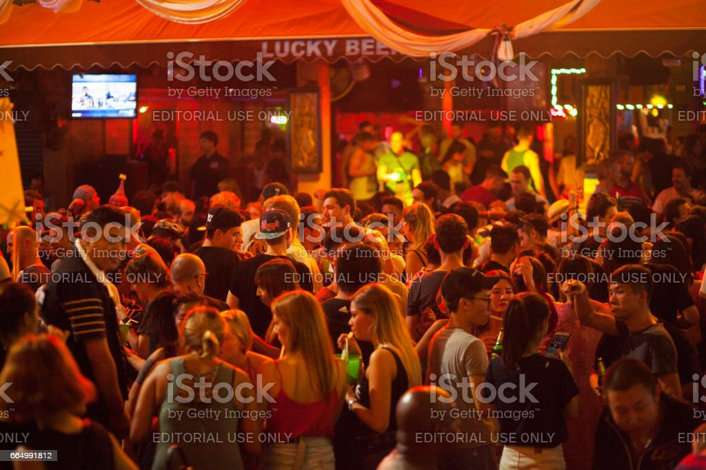 Dancing and party scene in Khao San Road stock photo